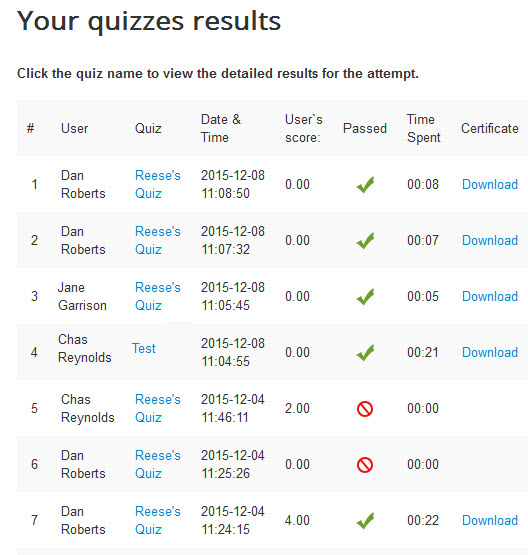 quiz deluxe front end results view