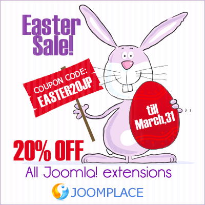 Easter Sale! 20% discount on Joomla! Extensions