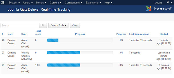 quiz real-time tracking progress bar